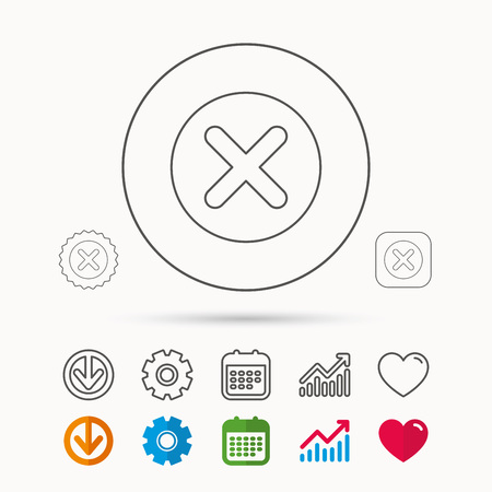 Delete icon. Decline or Remove sign. Cancel symbol. Calendar, Graph chart and Cogwheel signs. Download and Heart love linear web icons. Vector