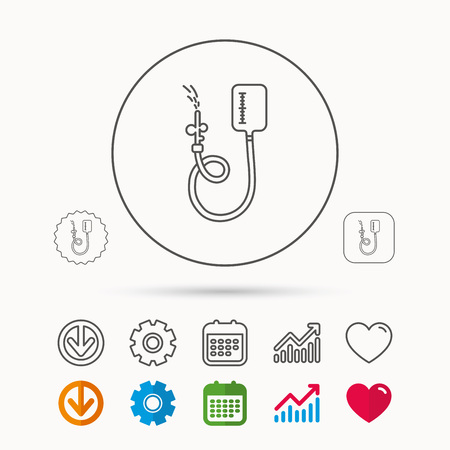 Drop counter icon. Medical procedure sign. Calendar, Graph chart and Cogwheel signs. Download and Heart love linear web icons. Illustration