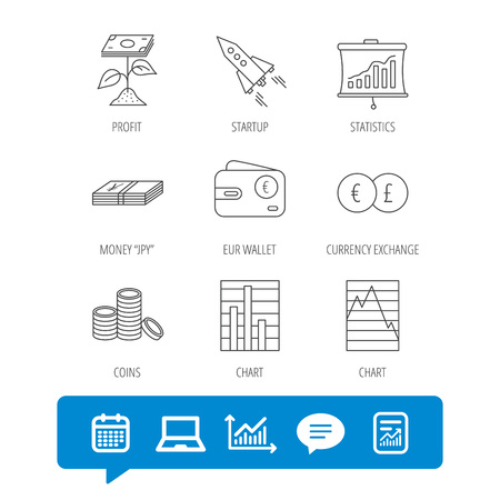 Profit investment, cash money and startup rocket icons. Wallet, currency exchange and euro linear signs. Chart, coins and statistics icons.