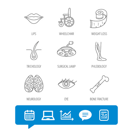 Eye, neurology brain and vein varicose icons. Wheelchair, bone fracture and trichology linear signs. Weight loss, lips and surgical lamp icons.