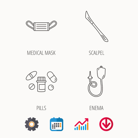 Medical mask, pills and scalpel icons. Enema linear sign. Calendar, Graph chart and Cogwheel signs. Download colored web icon. Vector