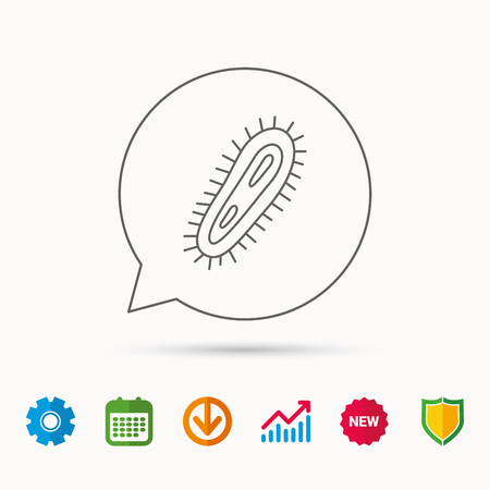 bacteria cell: Bacteria icon. Medicine infection symbol. Bacterium or microbe sign. Calendar, Graph chart and Cogwheel signs. Download and Shield web icons.