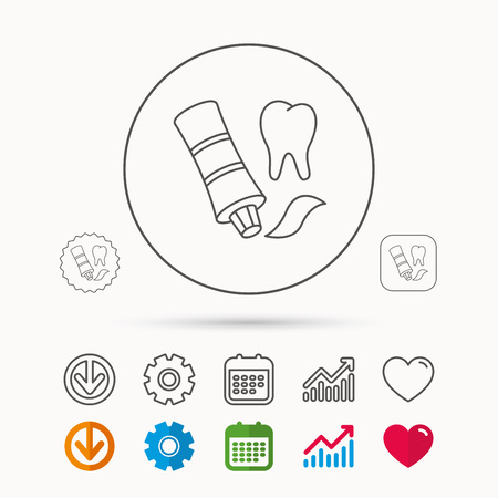 whiten: Toothpaste icon. Teeth health care sign. Calendar, Graph chart and Cogwheel signs. Download and Heart love linear web icons. Vector Illustration