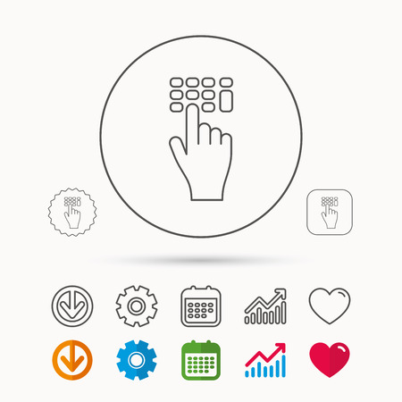 gearwheel: Enter pin code icon. Click hand pointer sign. Calendar, Graph chart and Cogwheel signs. Download and Heart love linear web icons. Vector