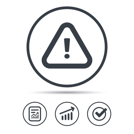 to warn: Warning icon. Attention exclamation mark symbol. Report document, Graph chart and Check signs. Circle web buttons. Vector