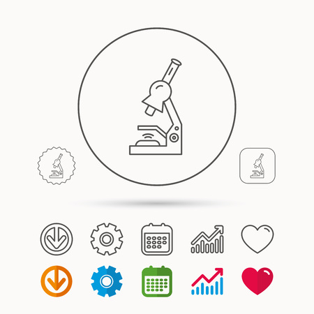 Microscope icon. Medical laboratory equipment sign. Pathology or scientific symbol. Calendar, Graph chart and Cogwheel signs. Download and Heart love linear web icons. Vector Illustration
