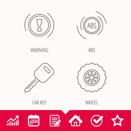 tread: Car key, abs and wheel icons. Warning ABS, attention linear signs. Edit document, Calendar and Graph chart signs. Star, Check and House web icons. Vector
