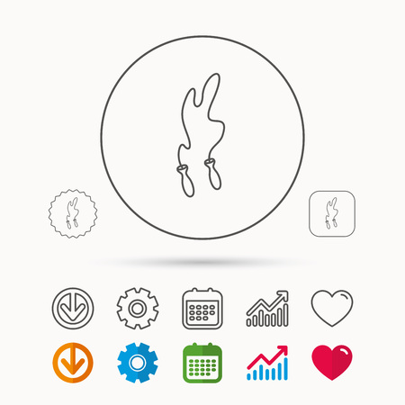 gearwheel: Skipping rope icon. Jumping sport tool sign. Cardio fitness symbol. Calendar, Graph chart and Cogwheel signs. Download and Heart love linear web icons. Vector Illustration