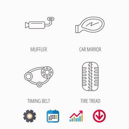 car tire: Tire tread, car mirror and timing belt icons. Muffler linear sign. Calendar, Graph chart and Cogwheel signs. Download colored web icon. Vector
