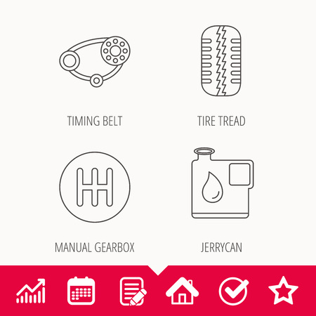 Wheel, manual gearbox and timing belt icons. Fuel jerrycan, manual transmission linear signs. Edit document, Calendar and Graph chart signs. Star, Check and House web icons. Vector