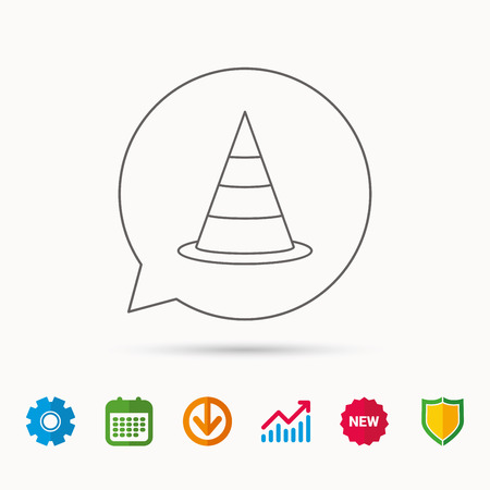 to warn: Traffic cone icon. Road warning sign. Calendar, Graph chart and Cogwheel signs. Download and Shield web icons. Vector