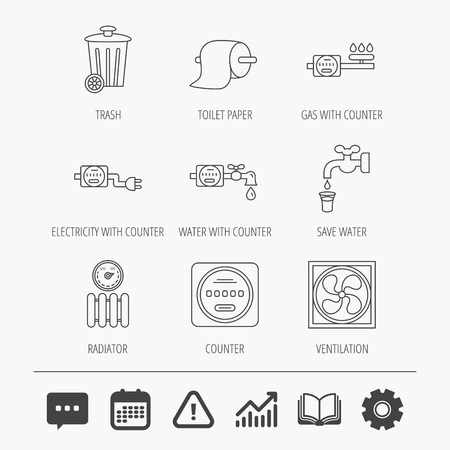 gearwheel: Ventilation, radiator and water counter icons. Toiler paper, gas and electricity counters linear signs. Trash icon. Education book, Graph chart and Chat signs. Vector