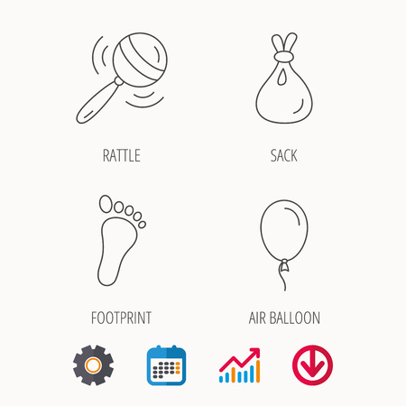 child care: Rattle toy, footprint and air balloon icons. Sack linear sign. Calendar, Graph chart and Cogwheel signs. Download colored web icon. Vector