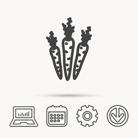 scrumptious: Carrots icon. Vegetarian food sign. Natural vegetables symbol. Notebook, Calendar and Cogwheel signs. Download arrow web icon. Vector