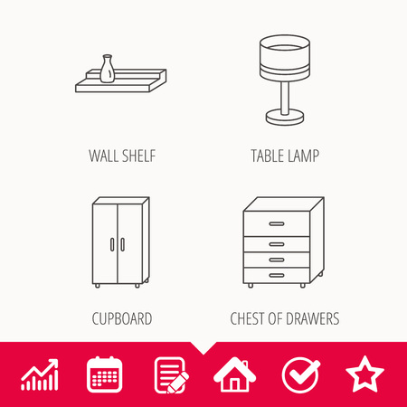 cosy: Table lamp, cupboard and wall shelf icons. Chest of drawers linear sign. Edit document, Calendar and Graph chart signs. Star, Check and House web icons. Vector