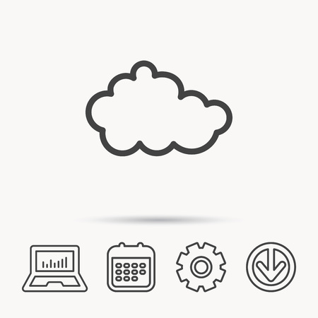 gearwheel: Cloud icon. Overcast weather sign. Meteorology symbol. Notebook, Calendar and Cogwheel signs. Download arrow web icon. Vector