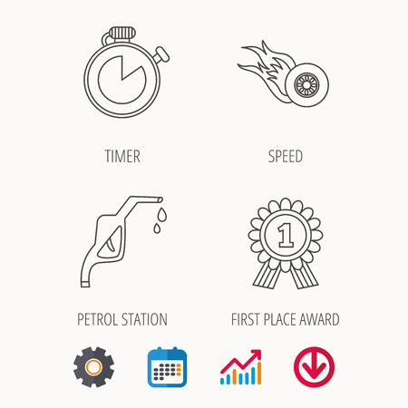 Winner award, petrol station and speed icons. Race timer linear sign. Calendar, Graph chart and Cogwheel signs. Download colored web icon. Vector