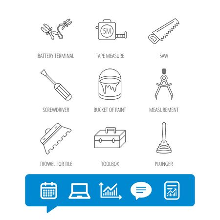 Screwdriver, plunger and repair toolbox icons. Trowel for tile, bucket of paint linear signs. Measurement, battery terminal icons. Report file, Graph chart and Chat speech bubble signs. Vector Illustration