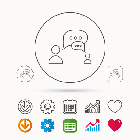 gearwheel: Dialog icon. Chat speech bubbles sign. Discussion messages symbol. Calendar, Graph chart and Cogwheel signs. Download and Heart love linear web icons. Vector Illustration