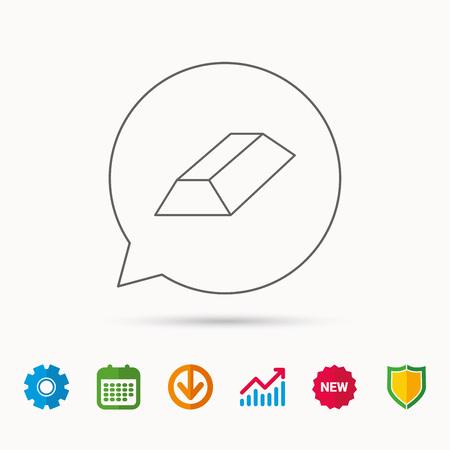 gearwheel: Gold bar icon. Banking treasure sign. Calendar, Graph chart and Cogwheel signs. Download and Shield web icons. Vector