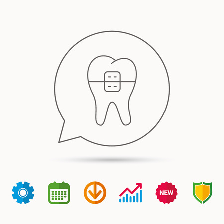 human anatomy: Dental braces icon. Tooth healthcare sign. Orthodontic symbol. Calendar, Graph chart and Cogwheel signs. Download and Shield web icons. Vector