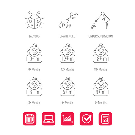 Infant child, ladybug and toddler baby icons. 0-18 months child linear signs. Unattended, parents supervision icons. Report document, Graph chart and Calendar signs. Laptop and Check web icons. Vector Ilustração