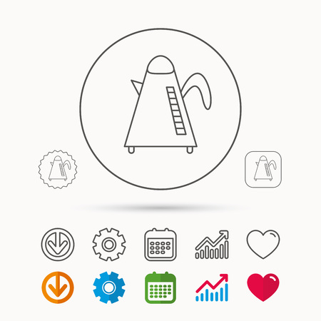 Teapot icon. Kitchen kettle sign. Hot drink appliance tool. Calendar, Graph chart and Cogwheel signs. Download and Heart love linear web icons. Vector