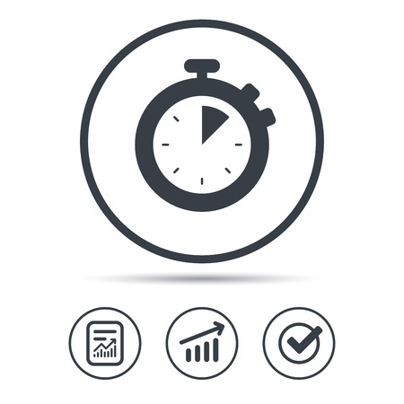 interval: Stopwatch icon. Timer or clock device symbol. Report document, Graph chart and Check signs. Circle web buttons. Vector Illustration