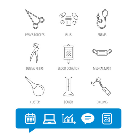Medical mask, blood and dental pliers icons. Pills, drilling tool and clyster linear signs. Enema, lab beaker and forceps flat line icons. Report file, Graph chart and Chat speech bubble signs