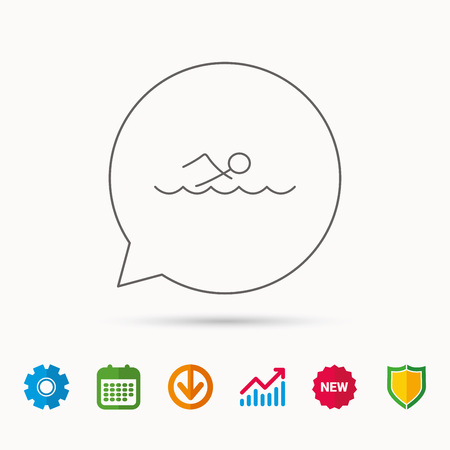 gearwheel: Swimming icon. Swimmer in waves sign. Professional sport symbol. Calendar, Graph chart and Cogwheel signs. Download and Shield web icons. Vector