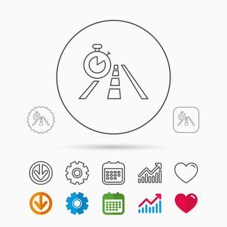 gearwheel: Travel time icon. Road with timer sign. Calendar, Graph chart and Cogwheel signs. Download and Heart love linear web icons. Vector Illustration
