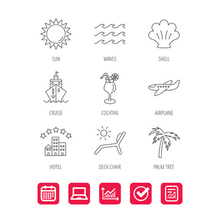 five star: Cruise, waves and cocktail icons. Hotel, palm tree and shell linear signs. Airplane, deck chair and sun flat line icons. Report document, Graph chart and Calendar signs. Laptop and Check web icons Illustration