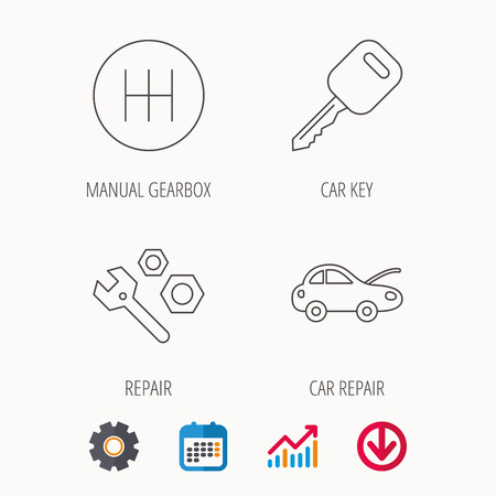 car tire: Car key, repair tools and manual gearbox icons. Car repair, transmission linear signs. Calendar, Graph chart and Cogwheel signs. Download colored web icon. Vector