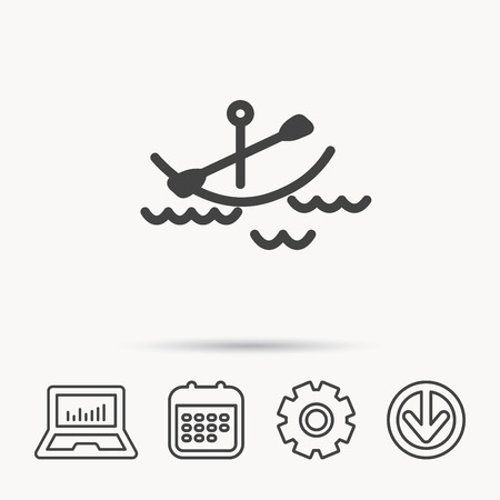 gearwheel: Kayaking on waves icon. Boating or rafting sign. Canoeing extreme sport symbol. Notebook, Calendar and Cogwheel signs. Download arrow web icon. Vector