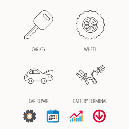car tire: Car key, wheel and repair service icons. Battery terminal linear sign. Calendar, Graph chart and Cogwheel signs. Download colored web icon. Vector
