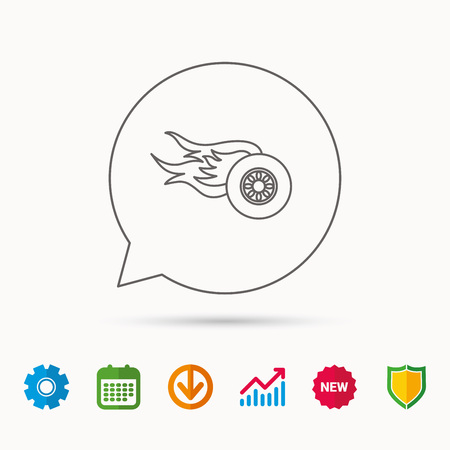 gearwheel: Wheel on fire icon. Race or Speed sign. Calendar, Graph chart and Cogwheel signs. Download and Shield web icons. Vector Illustration