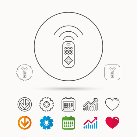 gearwheel: Remote control icon. TV switching channels sign. Calendar, Graph chart and Cogwheel signs. Download and Heart love linear web icons. Vector