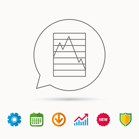 gearwheel: Chart curve icon. Graph diagram sign. Demand reduction symbol. Calendar, Graph chart and Cogwheel signs. Download and Shield web icons. Vector