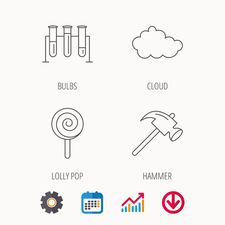 gearwheel: Hammer, lab bulbs and weather cloud icons. Lolly pop linear sign. Calendar, Graph chart and Cogwheel signs. Download colored web icon. Vector
