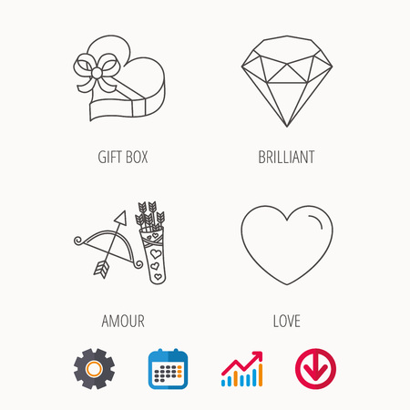 gearwheel: Love heart, brilliant and gift box icons. Amour bow with arrows linear signs. Calendar, Graph chart and Cogwheel signs. Download colored web icon. Vector