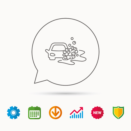 gearwheel: Car wash icon. Cleaning station sign. Foam bubbles symbol. Calendar, Graph chart and Cogwheel signs. Download and Shield web icons. Vector Illustration