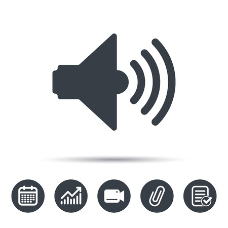 attached: Sound icon. Music dynamic symbol. Calendar, chart and checklist signs. Video camera and attach clip web icons. Vector