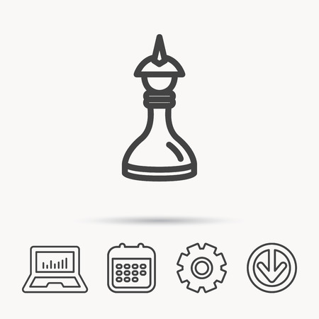 gearwheel: Strategy icon. Chess queen or king sign. Mind game symbol. Notebook, Calendar and Cogwheel signs. Download arrow web icon. Vector