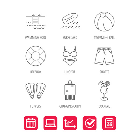 flippers: Surfboard, swimming pool and trunks icons. Beach ball, lingerie and shorts linear signs. Lifebuoy, cocktail and changing cabin icons. Report document, Graph chart and Calendar signs. Vector Illustration