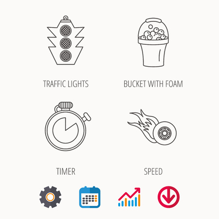 Race, traffic lights and speed icons. Bucket with foam, fire wheel linear signs. Calendar, Graph chart and Cogwheel signs. Download colored web icon. Vector