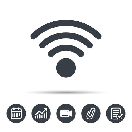 attached: Wifi icon. Wireless internet sign. Communication technology symbol. Calendar, chart and checklist signs. Video camera and attach clip web icons. Vector Illustration