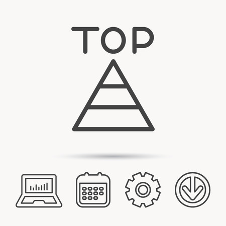 gearwheel: Triangle icon. Top or best result sign. Success symbol. Notebook, Calendar and Cogwheel signs. Download arrow web icon. Vector