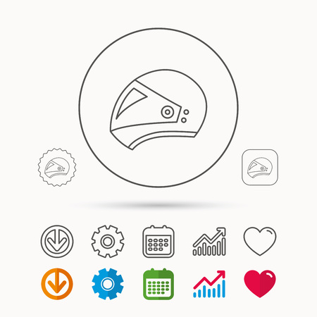 Motorcycle helmet icon. Biking sport sign. Calendar, Graph chart and Cogwheel signs. Download and Heart love linear web icons. Vector