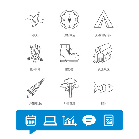 Pine tree, fishing float and hiking boots icons. Compass, umbrella and bonfire linear signs. Camping tent, fish and backpack icons. Report file, Graph chart and Chat speech bubble signs. Vector