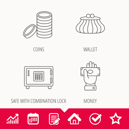 combination: Give money, cash money and wallet icons. Safe box, coins linear signs. Edit document, Calendar and Graph chart signs. Star, Check and House web icons. Vector Illustration